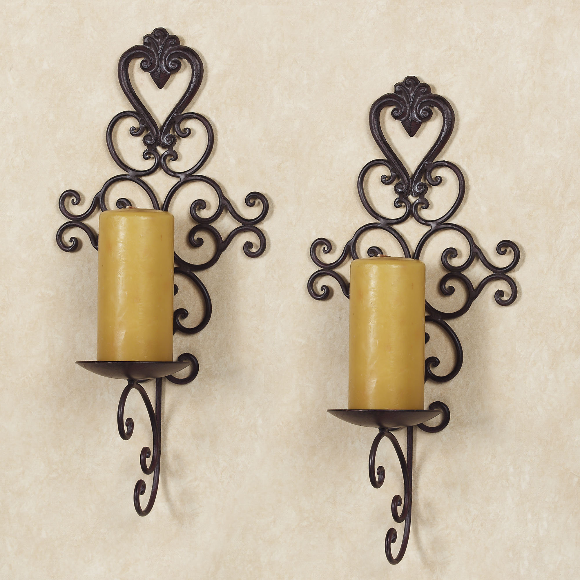 Image of: wrought iron wall decor with candles