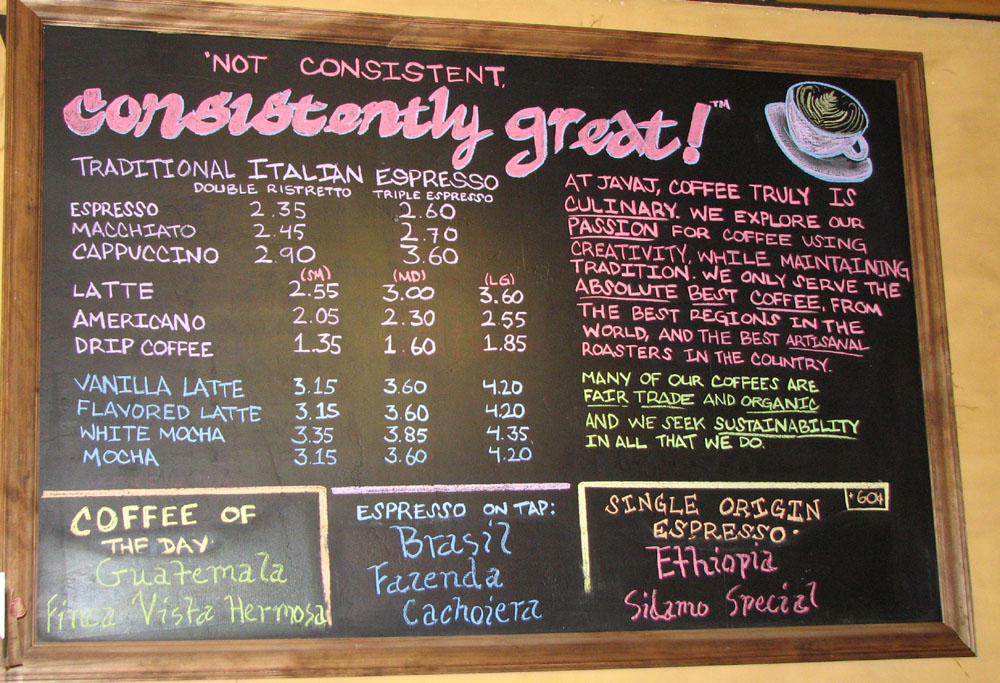 Image of: cafe chalkboard designs