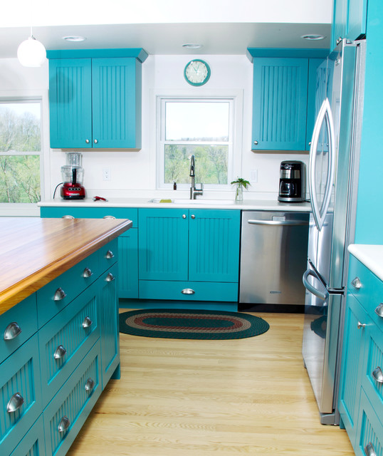 Image of: cottage kitchens blue