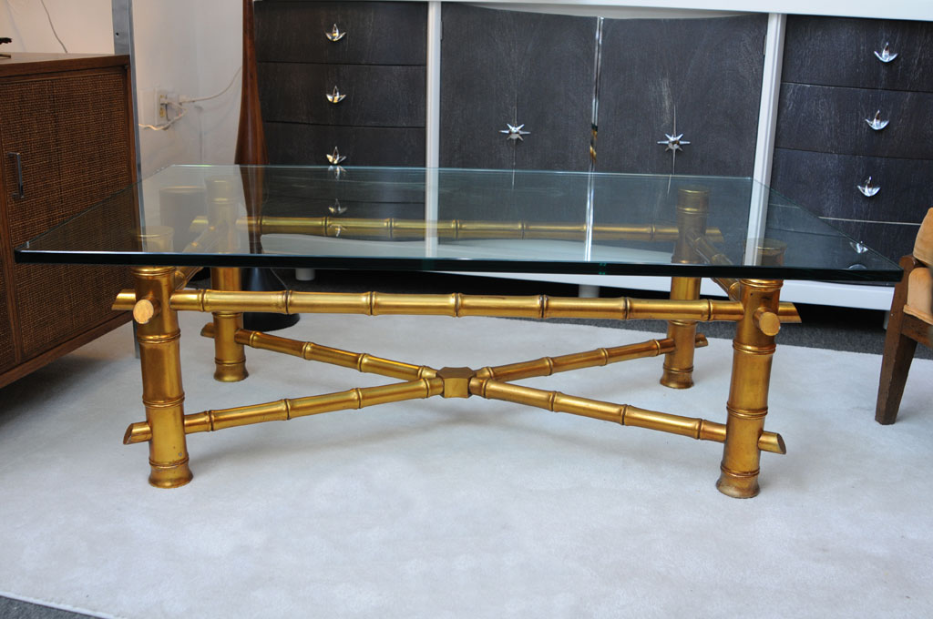 Image of: gold bamboo coffee table