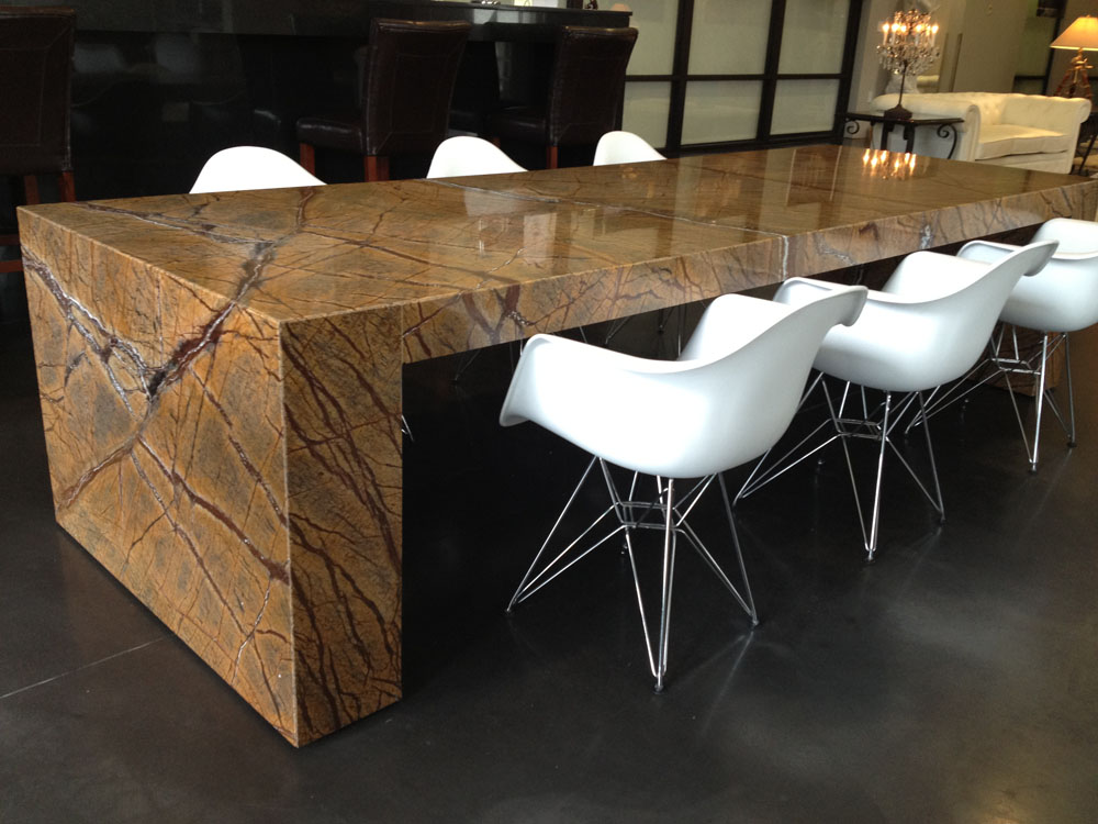 Image of: granite top dining table set