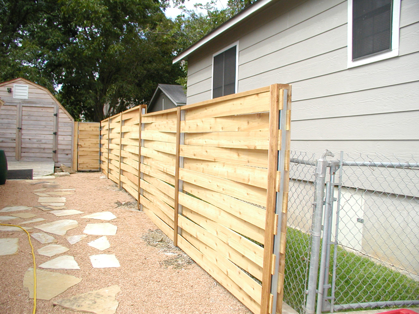 Image of: horizontal wood fence designs