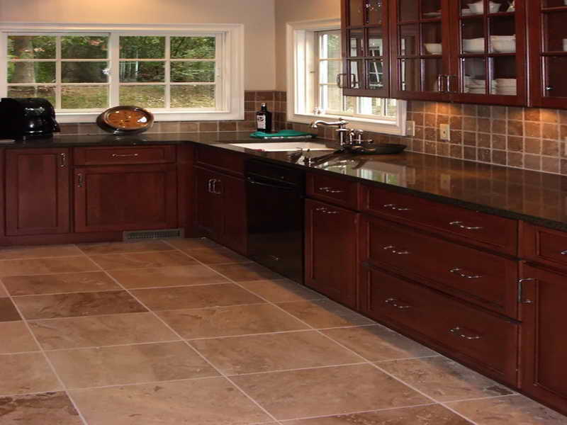 Image of: kitchen flooring ideas with cherry cabinets