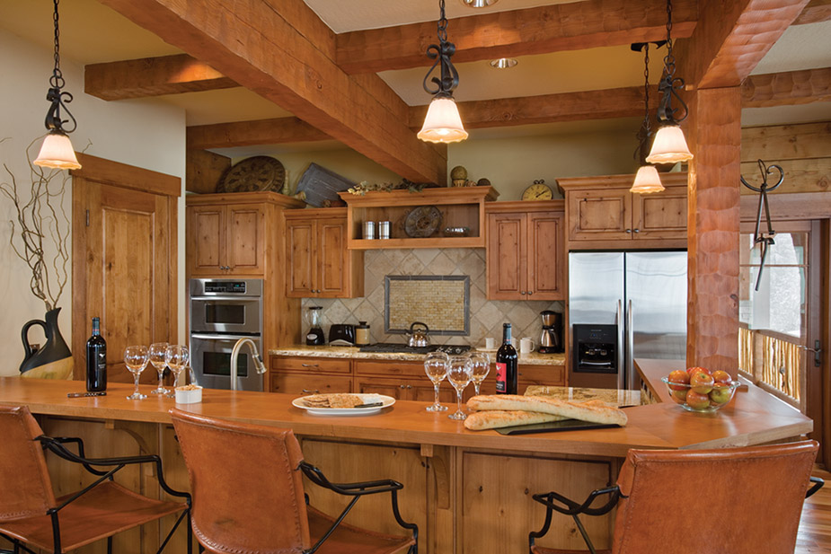 Image of: log cabin kitchen designs