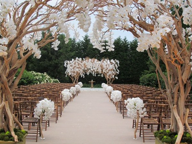 Image of: outside wedding ceremony aisle decorations