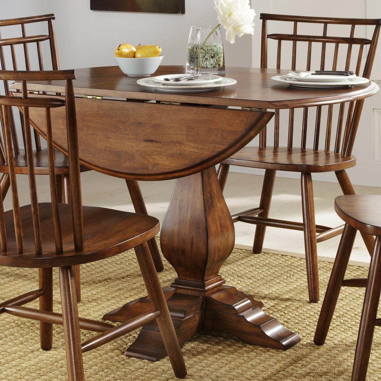 Image of: round drop leaf table and chairs
