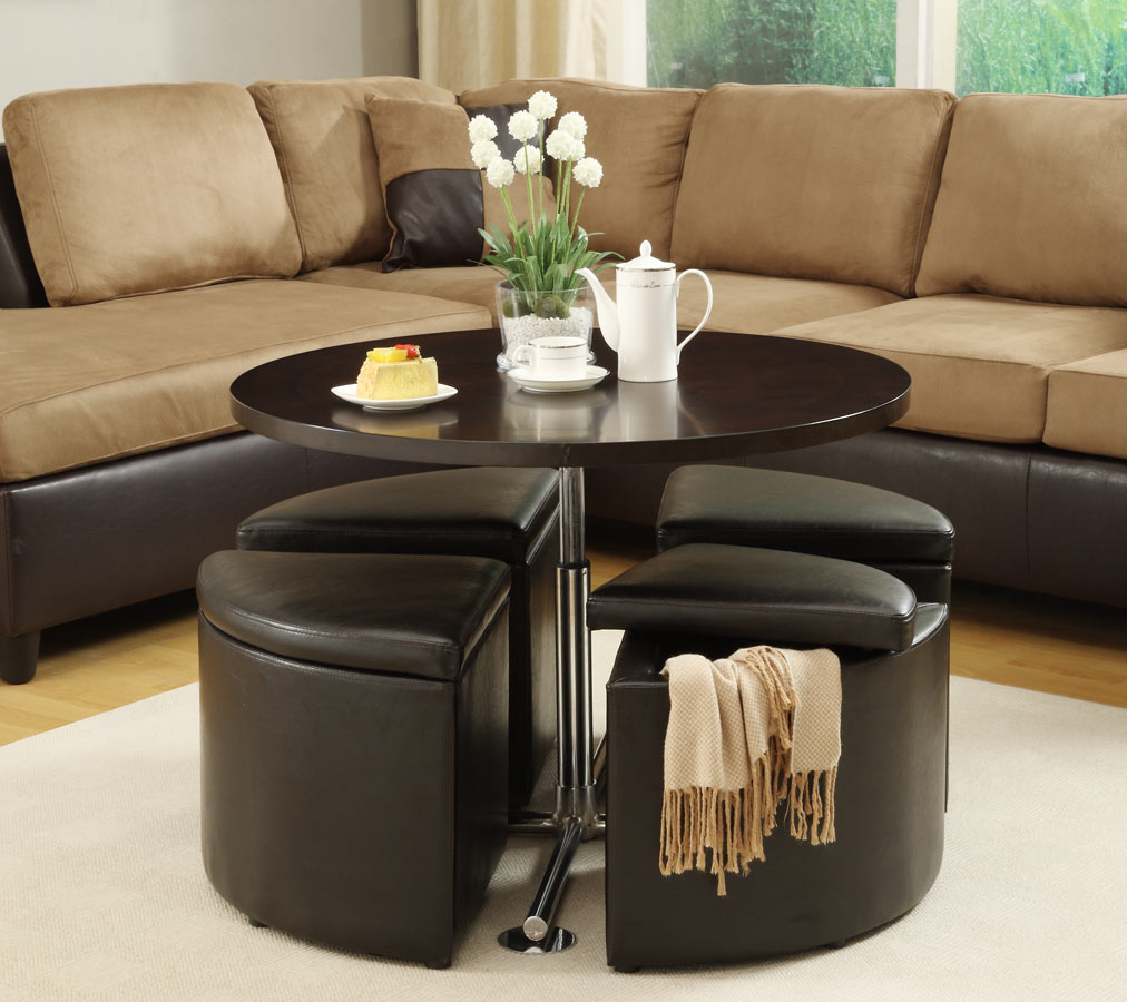 Image of: round tufted coffee table