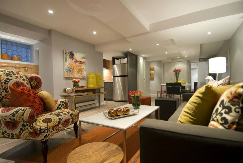 Image of: small basement apartment design ideas