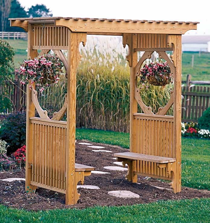 Image of: trellis bench design