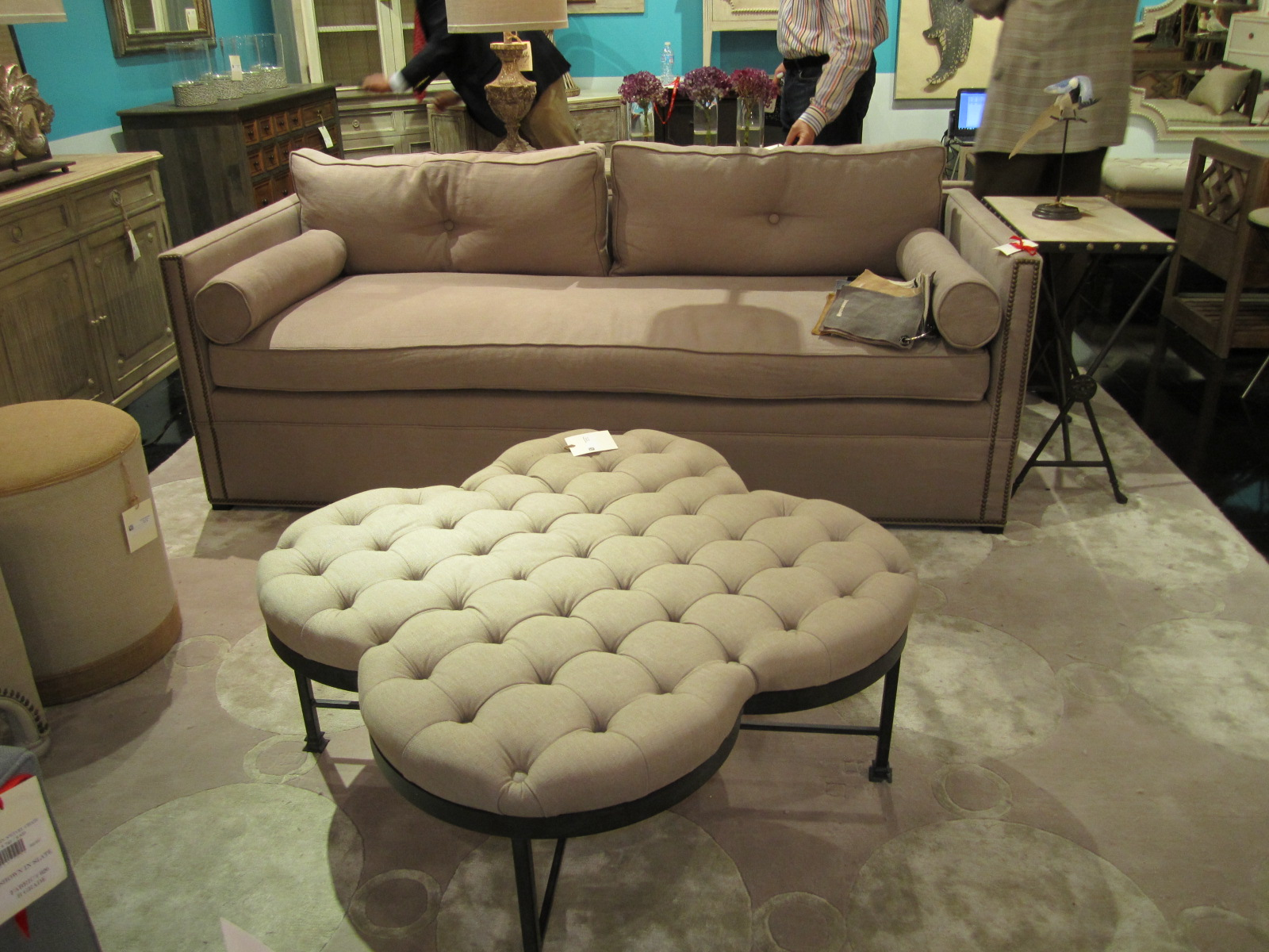 Image of: tufted leather coffee table