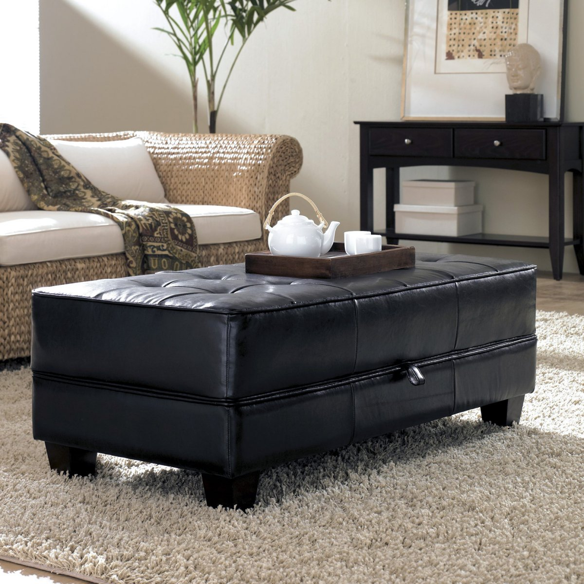Image of: tufted leather ottoman coffee table