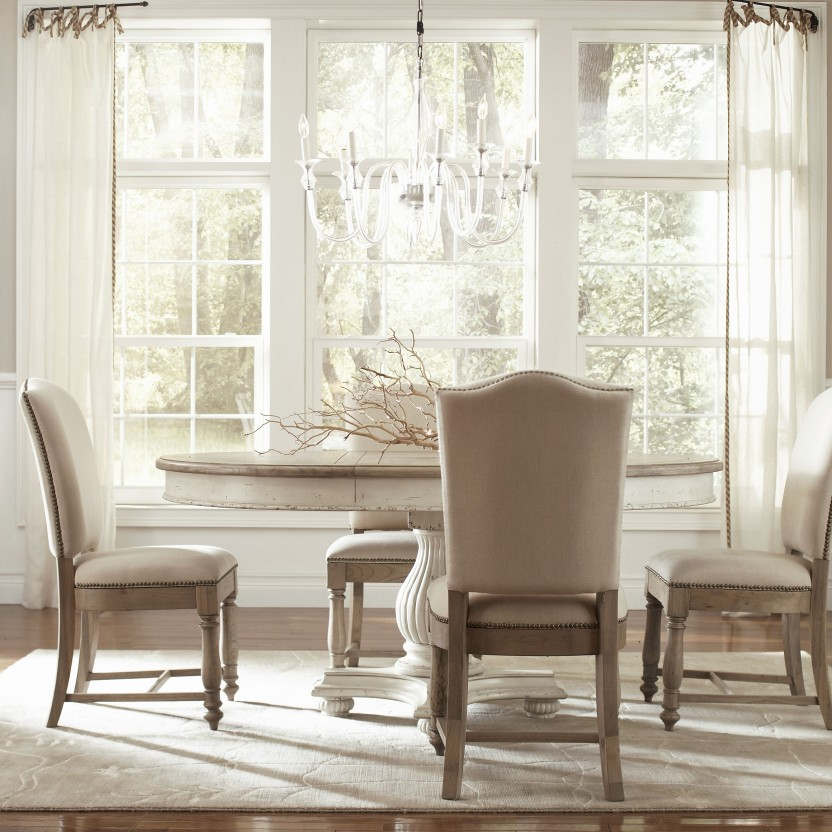 Image of: white round pedestal dining table
