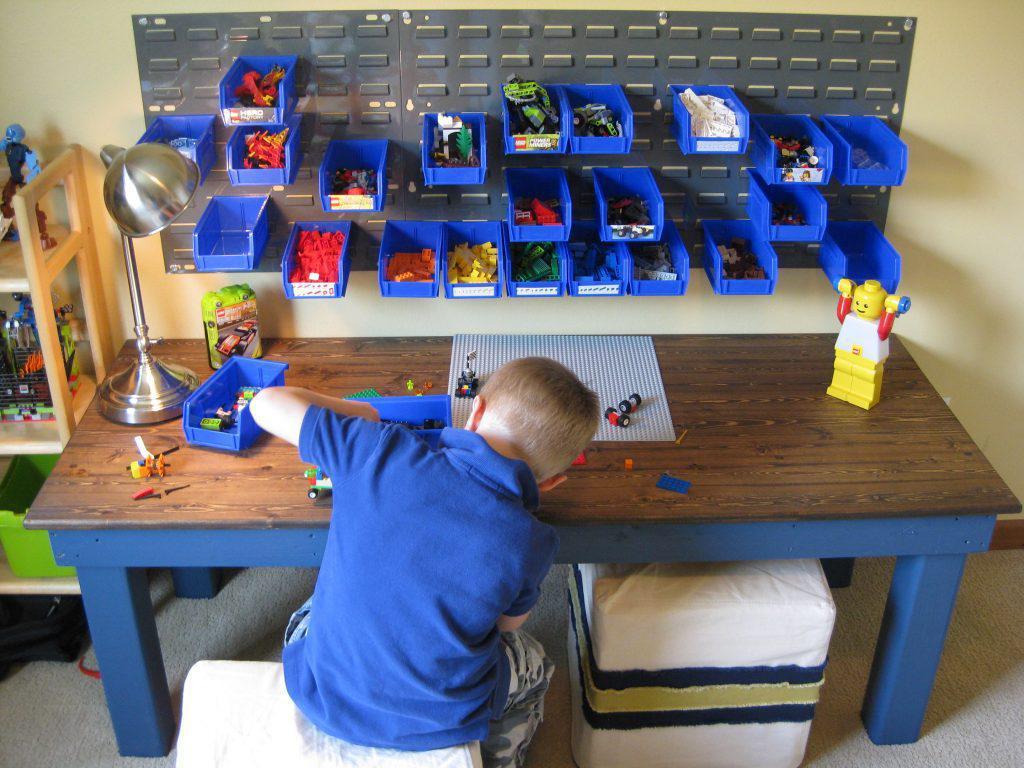 Image of: Diy Lego Table With Storage