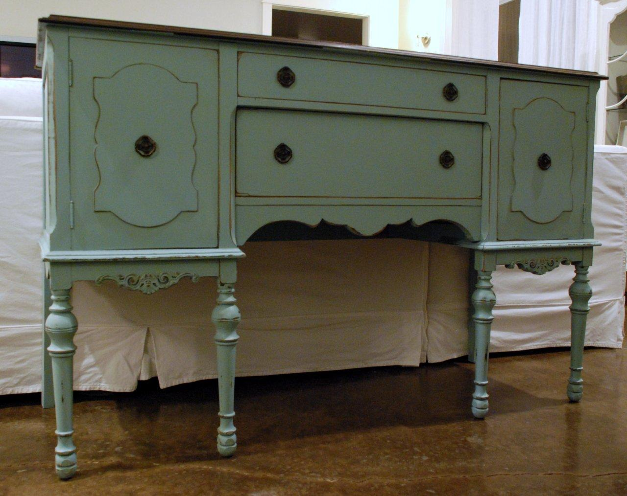 Image of: antique blue buffet table
