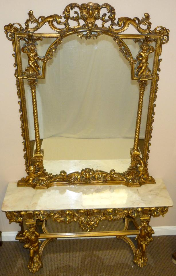 Image of: antique console table and mirror