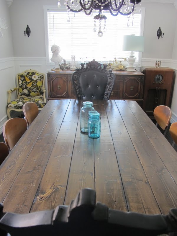 antique dining table and buffet