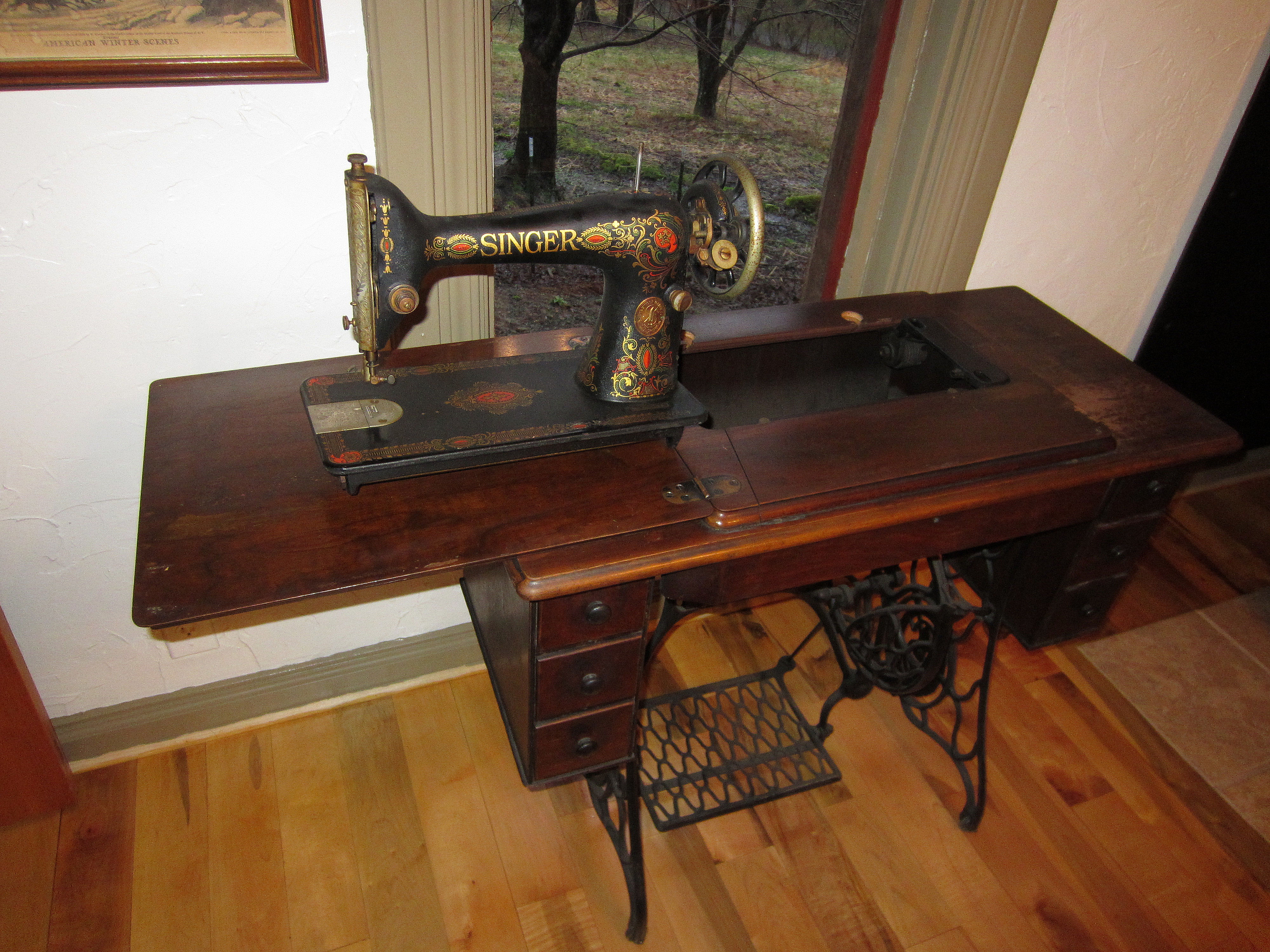 Image of: antique folding sewing table design