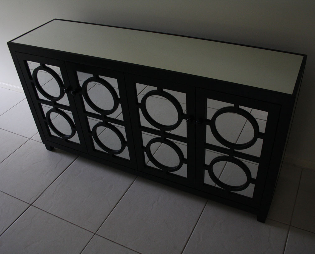 black mirrored buffet table