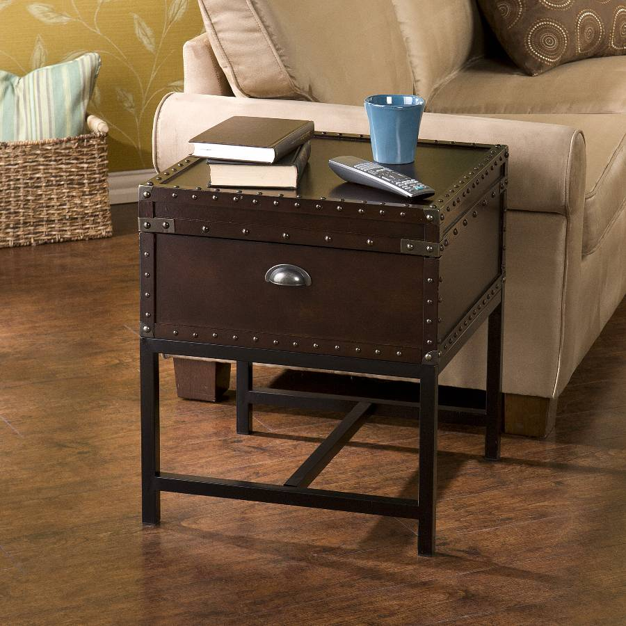Image of: black steamer trunk end table