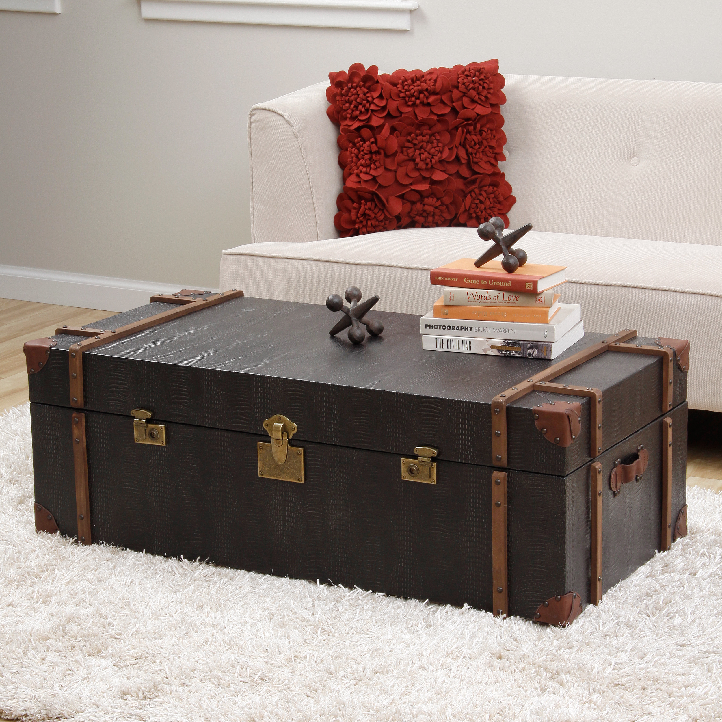 Image of: black trunk end table
