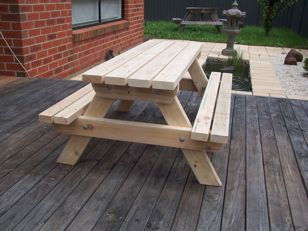 Image of: childrens wooden picnic table benches