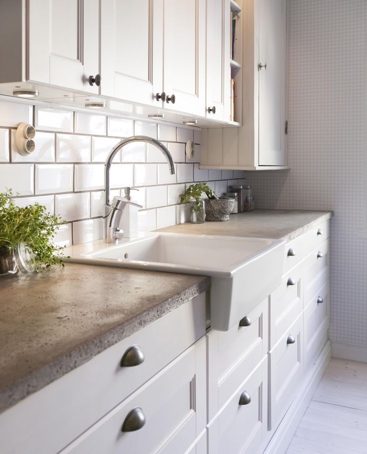 Image of: concrete kitchen countertops with white cabinets