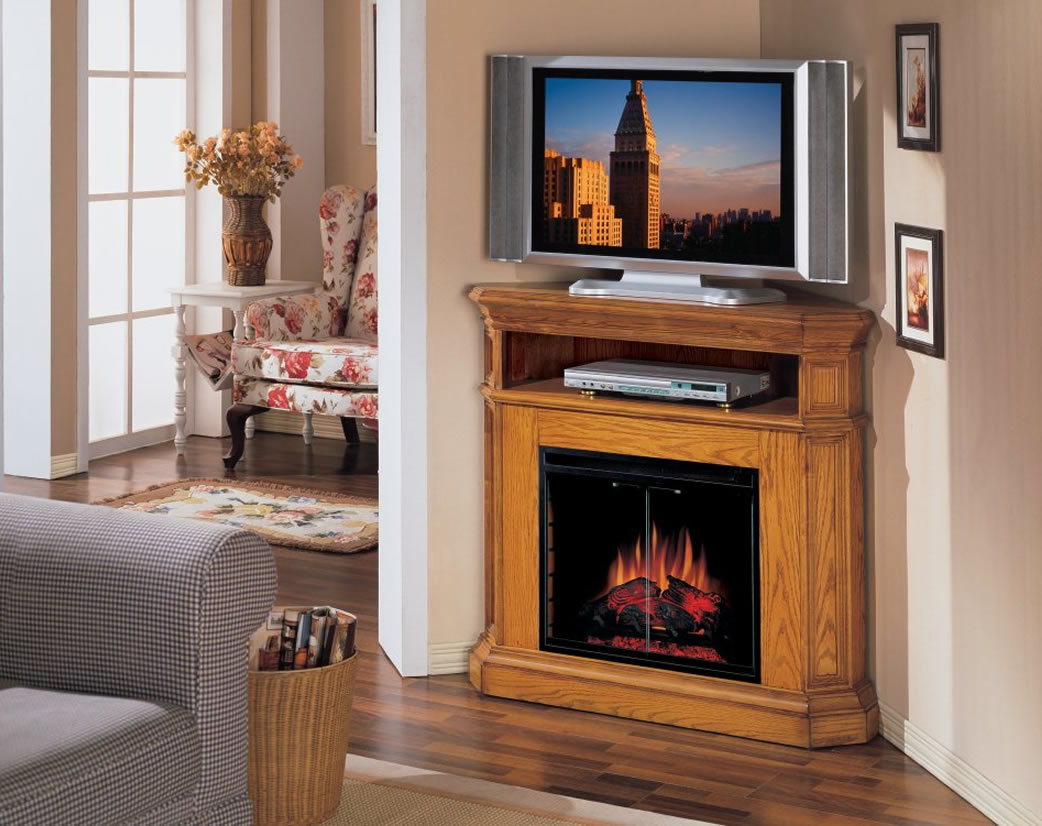Image of: corner fireplace and tv designs