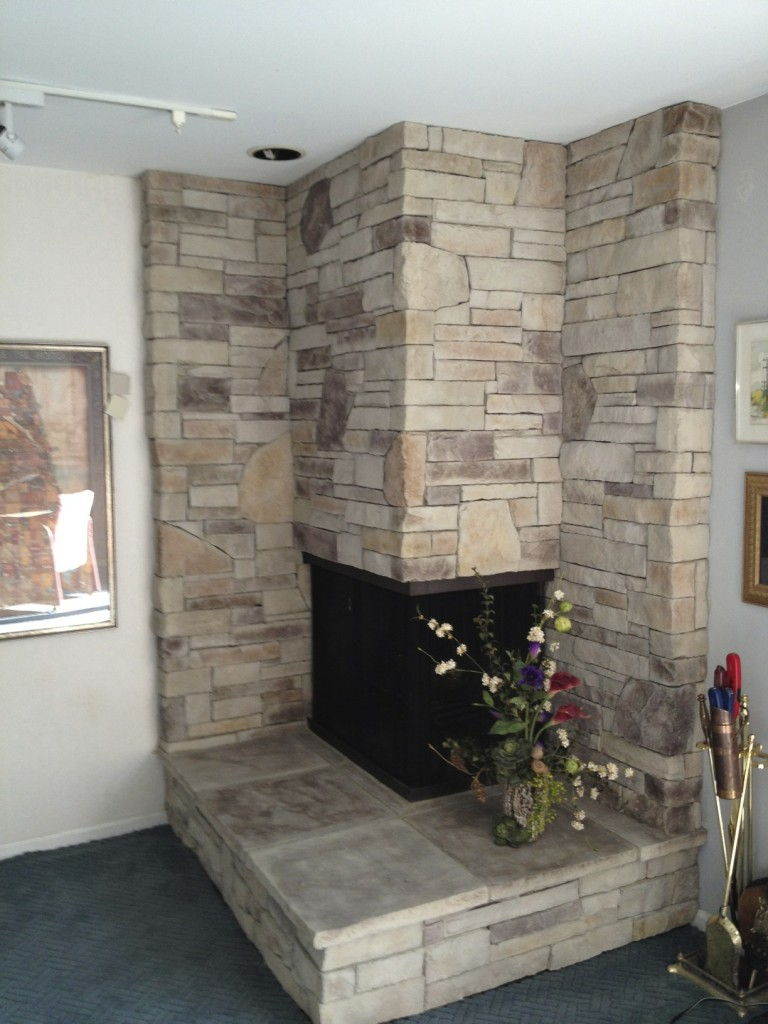 Image of: corner fireplace brick designs