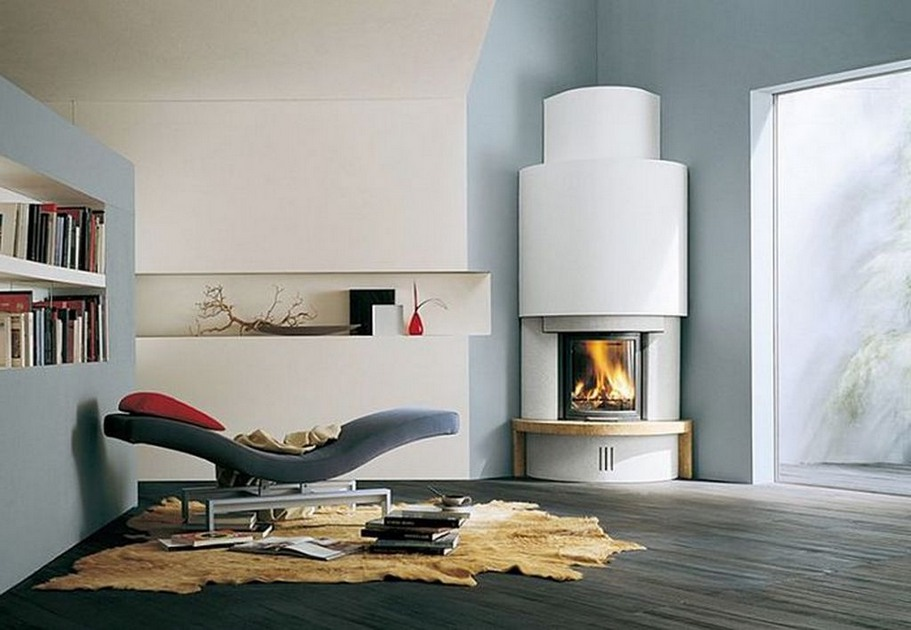 Image of: corner fireplace contemporary design