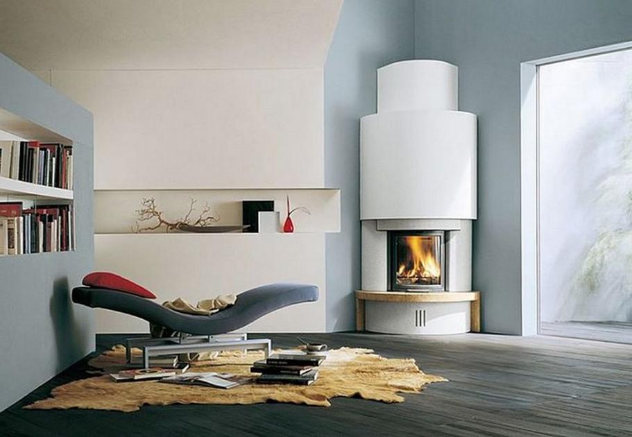 corner fireplace contemporary design