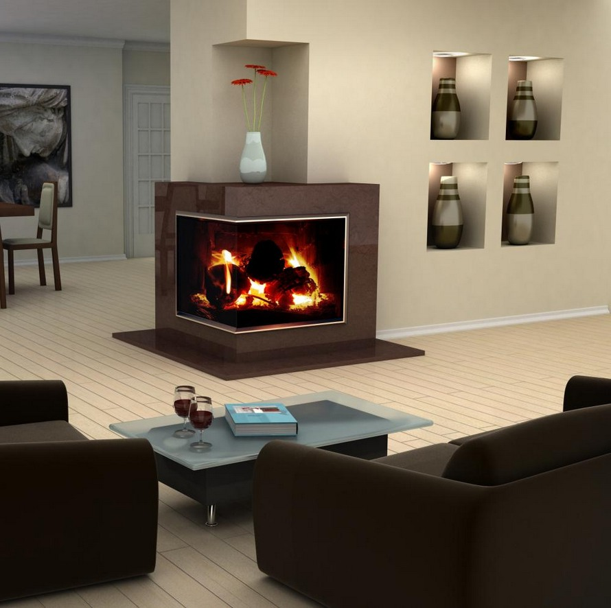 Image of: corner fireplace design ideas