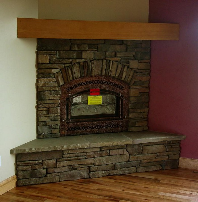 Image of: corner fireplace design