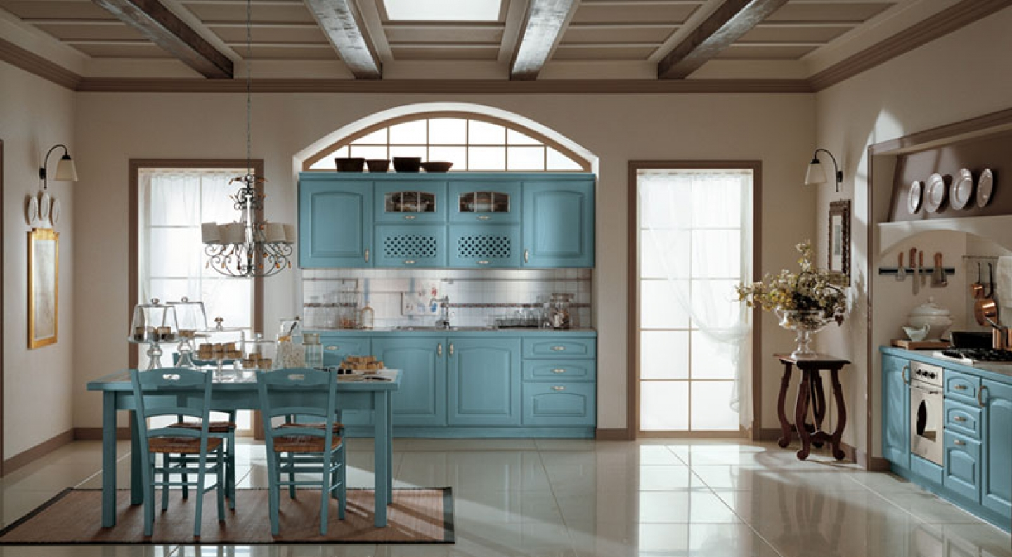 Image of: country kitchens blue