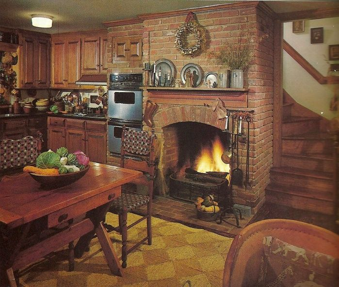 Image of: country kitchens with fireplaces