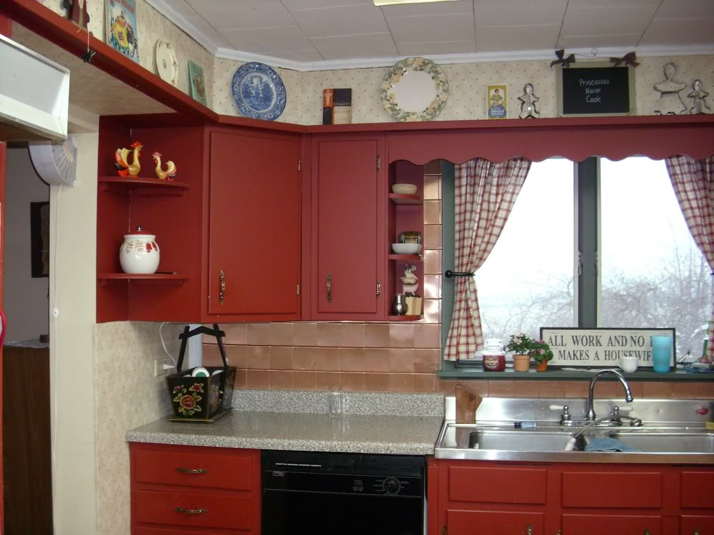 Image of: country kitchens with painted cabinets