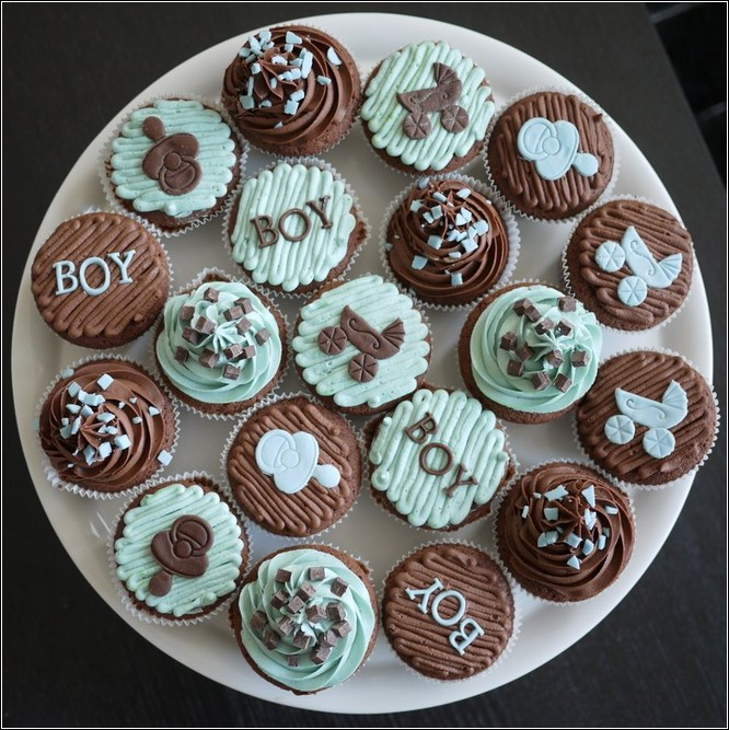 Image of: cupcake decorating ideas for a boy baby shower