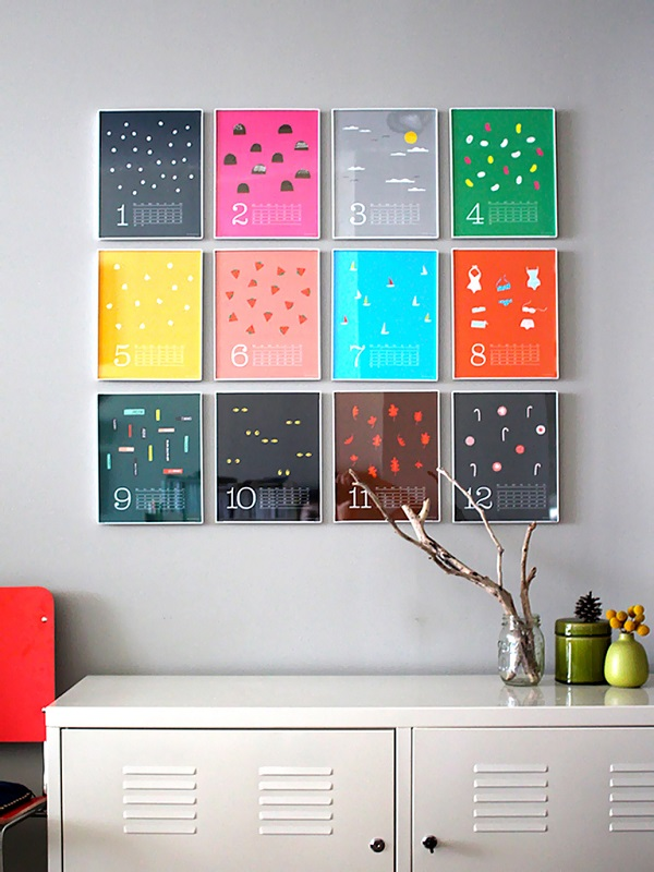 Image of: Colorful Wall Calendar As DIY Wall Art Ideas
