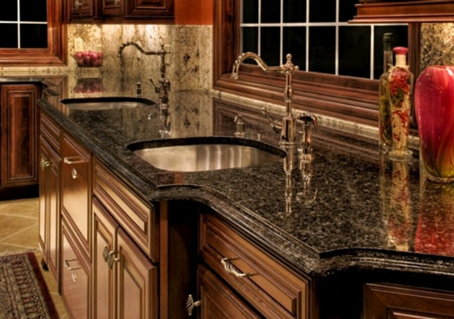 Image of: granite kitchen cabinet tops