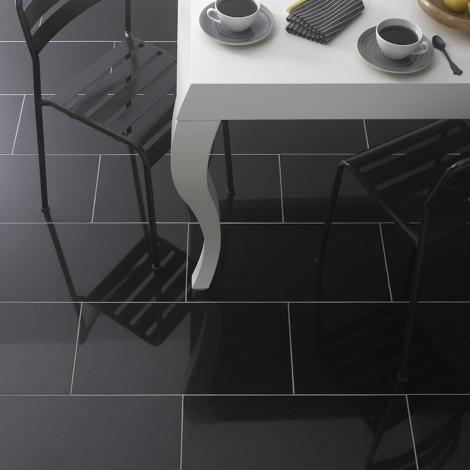Image of: kitchen floor tiles black