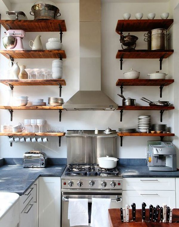 Image of: kitchen open shelving height