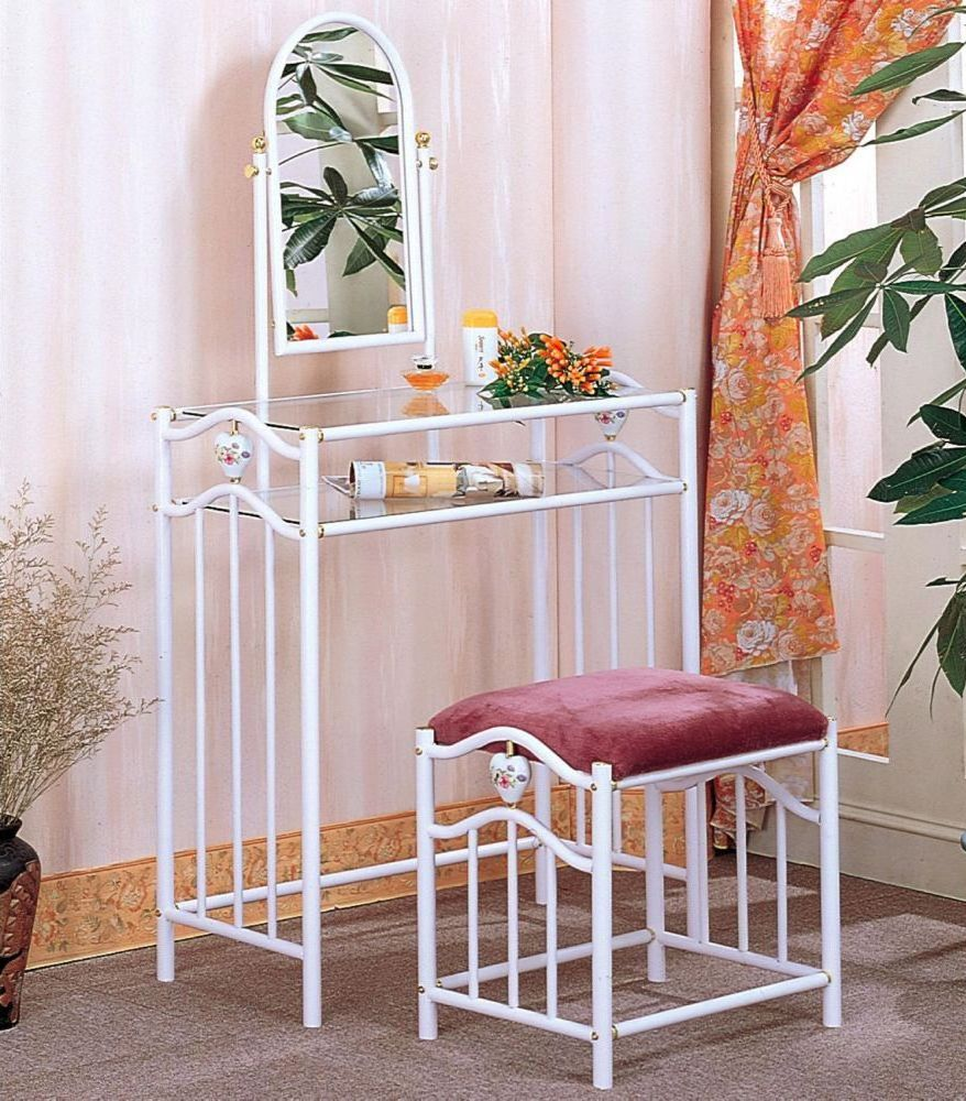 Image of: metal and glass vanity table