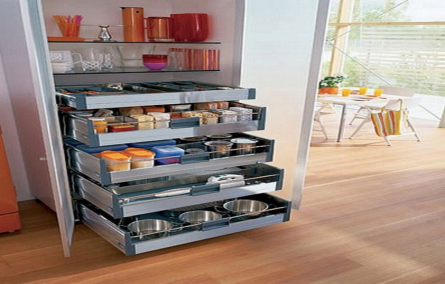 Image of: metal sliding kitchen shelves