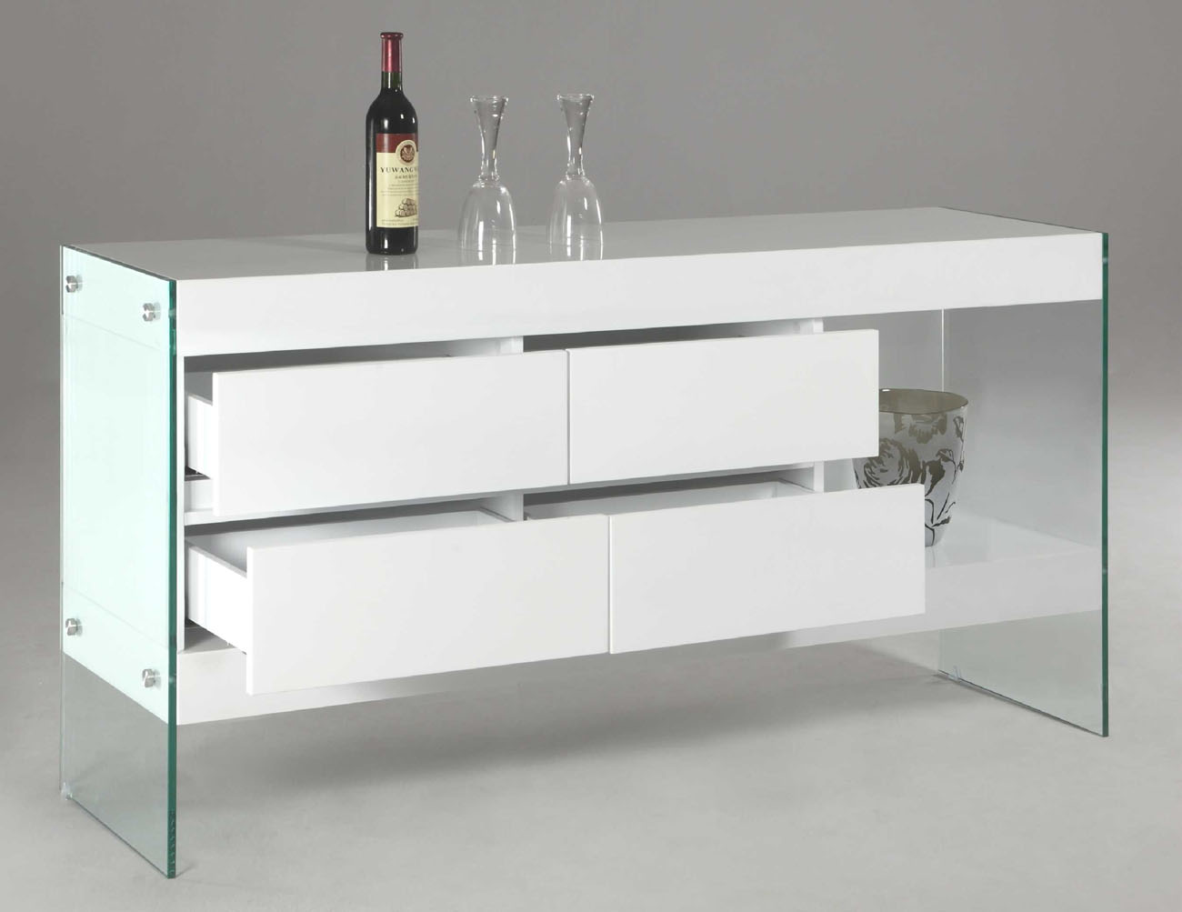 Image of: modern mirrored buffet table