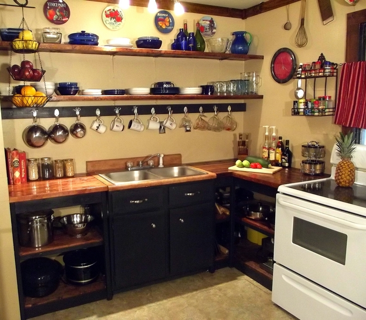 Image of: open kitchen cabinets diy