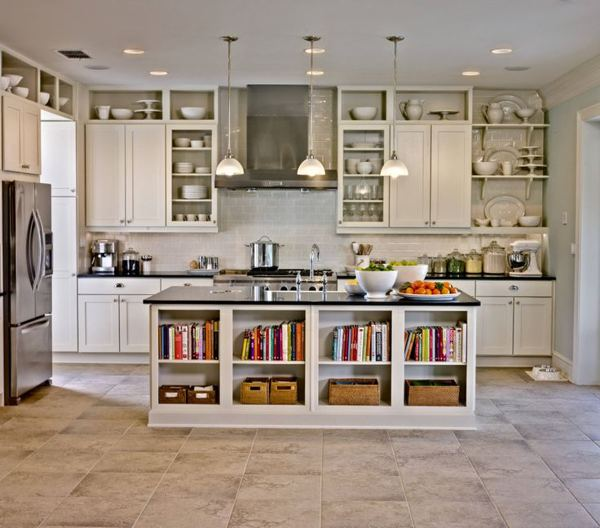 Image of: open shelving above kitchen cabinets
