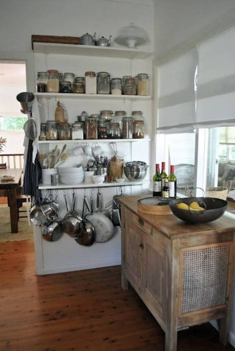 Image of: open shelving in a small kitchen