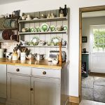 open shelving in country kitchen