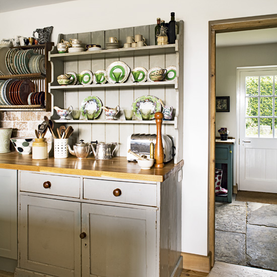 Image of: open shelving in country kitchen
