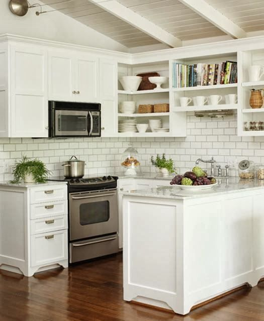 Image of: open shelving kitchen corner