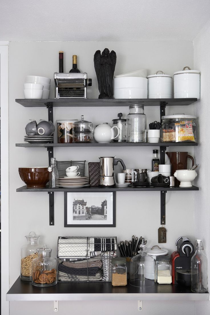 Image of: open shelving kitchen dust